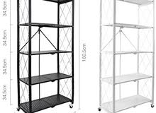 5 Tier Kitchen Shelf Organizer Cart With Casters, Foldable Kitchen Storage Trolley Cart