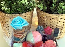 Handmade , soap , bath bomb, skin care ,  leaf soap , the price for every box 8 JD