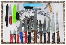 سكاكين سو يسريه و فرنسيه و أسبانيه و سويديه.  ماركات ممتازه.    لذباح و و تقطيع