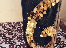 ثوب مناسبات فاخر حرير طبيعي اللون اسود مع ذهبي
