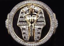 خاتم مطلي ذهب وفضة رجالي بشكل فرعوني