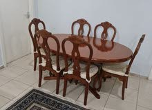 Rose Wood table with 6 chairs طاولة خشب مع 6 كراسي