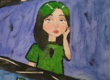 لوحه اكريليك بيلي ايليش billie eilish