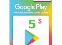 كروت 5$ و 10$ جوجل بلاي