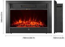 دفاية ديكور كهربائية امكانية التحكم بالحرارة مع هواء ساخن او اضاءة فقط مزودة بريموت كنترول