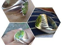 خاتم فضة بحجر زبرجد طبيعي