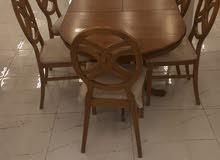 طاولة طعام 6كراسي جديدة بالكرتون خشب ماليزي جودة عالية خامة