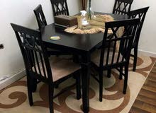 6 chairs with table and carpet