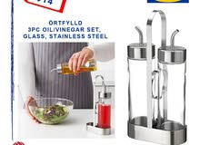 IKEA ÖRTFYLLD 3-piece oil/vinegar set, glass, stainless steel