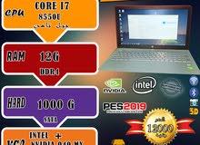 العملاق(HP PAVILION 15-CC1XX CORE I7 8550U جيل ثامن رمات 12 جيجا DDR4 هارد 1000)