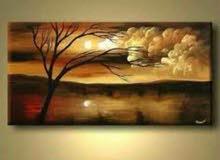 لوحات زيتية واكرليك تجريدية ومنظر طبيعي متوفرة او من إختياركم