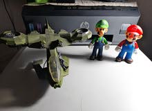 halo plane and Mario brothers figure