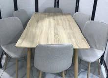 طاوله طعام لون خشبي 6 كرسي