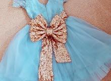 فستان اطفال بناتي تركي..لون تركوازي فاتح..ملبوس مرة فقط