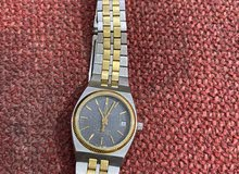 للبيع ساعة اوميغا اصلية نساءية مستعملة استيل بذهب