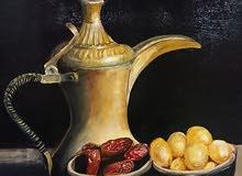 لوحة  فنية من التراث العربي بعنوان (عبقا مابين القهوة والماضي ) للبيع
