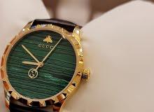 للبيع ساعة Gucci جلد اسود المينا اخضر / جديدة لم تستعمل بعد