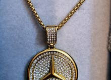 زنجيل مطلي ذهبي طلاء ثابت علامة نجمة مرسيدس