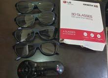 للبيع ريموت تليفزيون LG سمارت مع 4 نظارات 3D