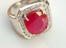 خاتم ياقوت مع الماس البلجيكى