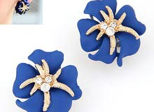 Elephant Blue Diamond Decorated Flower Pendant Design Alloy Chains