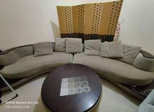 Italian wood corner and fabric sofa