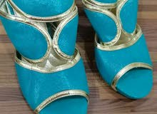 blue with golden shoes for sale