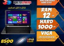 laptop hp cpu amd ram 12 hdd 1000 viga amd لالعاب 2018 وبرامج الجرافيك / شاشة تاتش