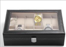 Men's jewelry box High-grade 12 Compartment leather watch box organizer