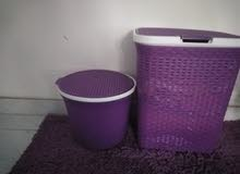 باسكت حمام 2 مع سجادة بسيطة نفس اللون موووف