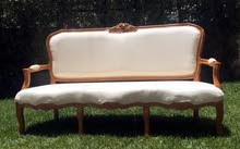 Furniture in quantity for sale: (French Sofas, Benches, Wood Tables, Counters, Poufs)