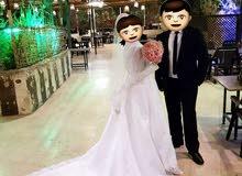 فستان زفاف (عرس) ابيض  لبسة واحدة