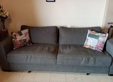 غرفة جلوس بحالة جيدة ، قطعة كبيرة sofabed مجوز + قطعتين صغيرة