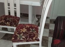 غرفة سفرة لاكيه خشب زان بحالة فوق الممتازة والمعاينة خير دليل 6 كراسي ونيش 3 درف