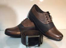 حذاء رجالي جلد مع حزام وجواريب وكرته القياس من 40 إلى 45 السعر 25 الف