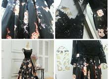 فستان سهرة جميل مشجر استعمال مرة واحده أضفت له دانتيل للأكمام