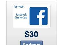 بطاقة رصيد لألعاب الفيسبوك بقيمة 30 دولار