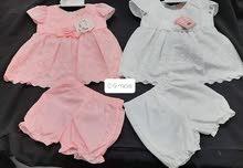 فساتين بنات من 0-9 أشهر اللون الأبيض و الزهري