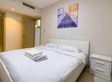 دبي البرشاء جنوب ارجان غرفة وصالة مفروشة سوبر لوكس مع بلكونة- ايجار شهري شامل