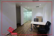 مكتب فاخر للايجار مساحة 100 متر مربع كامل الديكورات