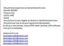 Urgently looking for Dental Lab technician