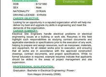 مهندس كهرباء أبحث عن عمل أو تصنيف.