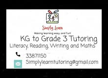 KG to Grade 3 Tutor available