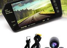 مراية بلوتوث تتش للسيارة مزودة بكاميرا خلفية ومرآة مدمجة 7 بوصة