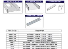 Stud , Track , Ceiling Angles , Main Channel , Spring Tee