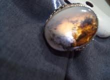 خاتم عقيق يمني مع فضة يمنية يدوية 925