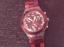 ساعة سواتش لون احمر استخدام بسيط (جديد)