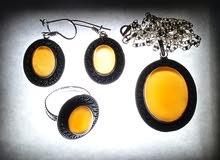 طقم فضة نسائي مع احجار العقيق يماني برتقالي اصلي