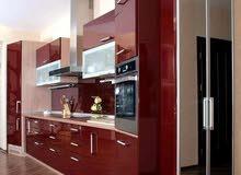 مطبخ المنيوم خشابي 3×4 ب 750 دينار  شامل جرانيت شفاط مجلى بطاريه