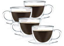 4أكواب شاي مزدوجه بصحنها